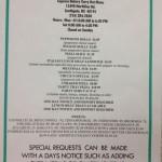 Caprara's take-out menu