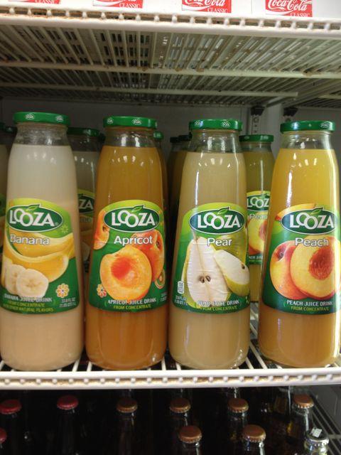 Looza banana, apricot, pear, and peach