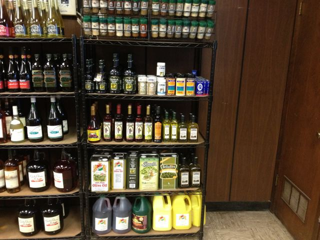 Olive oils, vinegars, and spices